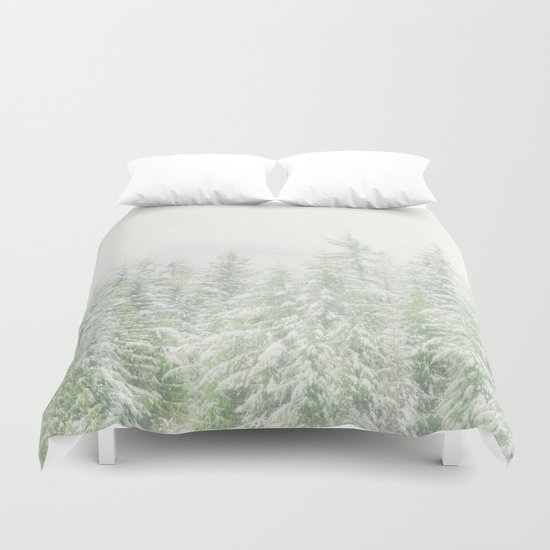 White Winter Forest with a Hint of Mint Duvet Cover
