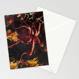 Blooming Crimson Octopus Stationery Cards