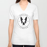 boston terrier V-neck T-shirts featuring Boston Terrier by Lulo The Boston Terrier
