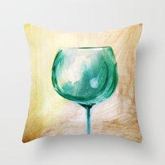 green wine glass Throw Pillow
