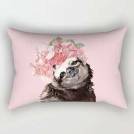 Sloth with Flower Crown Rectangular Pillow