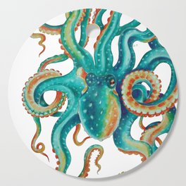 Octopus Tentacles Teal Green Watercolor Art Cutting Board