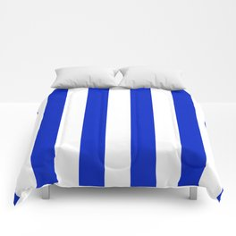 Cobalt Blue and White Wide Circus Tent Stripe Comforters
