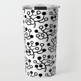 Mid Century Modern Berries Pattern Black & White Travel Mug