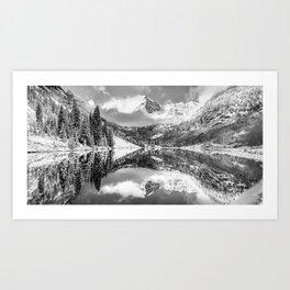Winter Wonderland - Maroon Bell Panoramic - Black and White Art Print