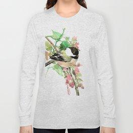 Chickadee and spring blossom Long Sleeve T-shirt