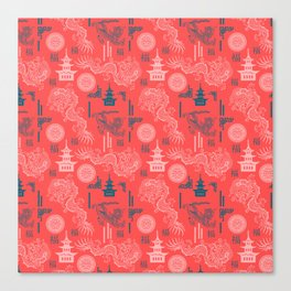 Coral Chinoiserie Canvas Print