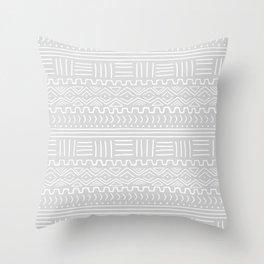 Mud Cloth on Light Gray Throw Pillow