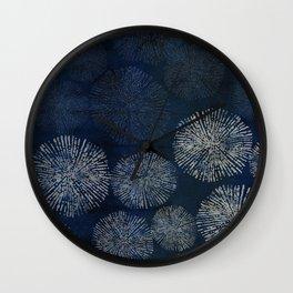 Denim Blue Shibori Sea Urchin Burst Pattern Wall Clock