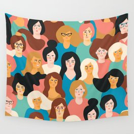 CUTE ALL-OVER WOMENS MARCH PATTERN Wall Tapestry