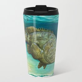"""Goliath Grouper"" by Amber Marine ~ Watercolor Painting, (Copyright 2015) Travel Mug"