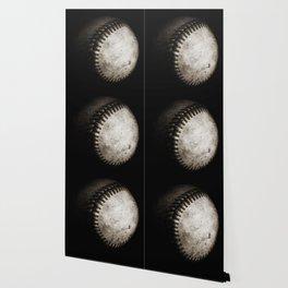 Battered Baseball in Black and White Wallpaper