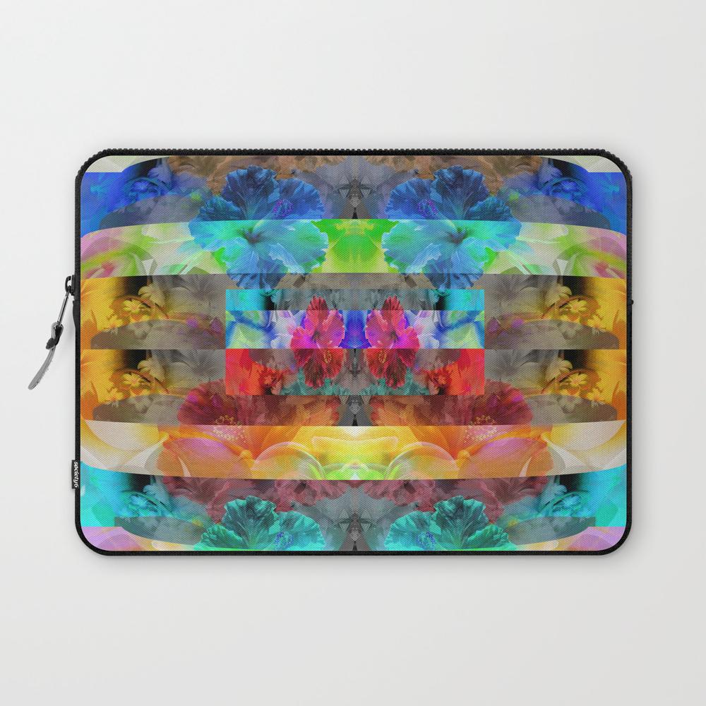 Vibrant Tropical Floral Stripes Laptop Sleeve LSV8902710
