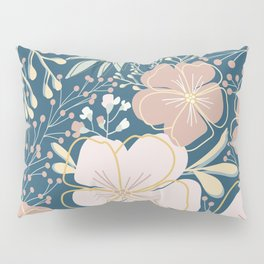 Big Flower Print in Muted Jewel Tones Green Pink Blue Yellow Pillow Sham