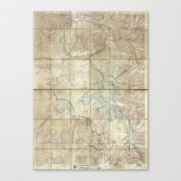 Map of Yellowstone National Park (1886) Canvas Print