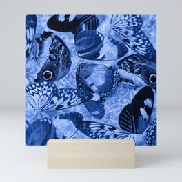 Blue Exotic Butterfly Wings and Scroll Collage Mini Art Print