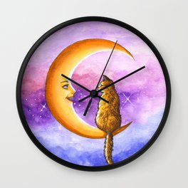 Cat on Moon 673 Wall Clock