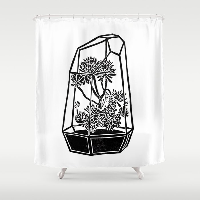Terrarium Block Print Shower Curtain By Beegreen