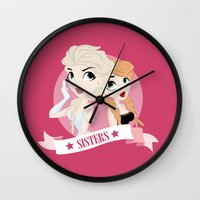 sisters Wall Clocks featuring Sisters by swisscreation