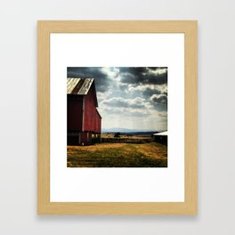 Red barn with mountain view Framed Art Print
