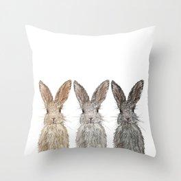 Triple Bunnies Throw Pillow