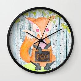 The little Fox- Woodland Friends- Watercolor Illustration Wall Clock
