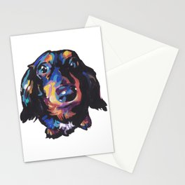 Dachshund Dog bright colorful Doxie Portrait Pop Art Painting by LEA Stationery Cards