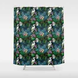 Egret In A Bog Garden Under A Full Moon Shower Curtain