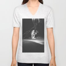 Minimalistic black and white waterfall Unisex V-Neck