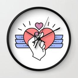finger heart love Wall Clock