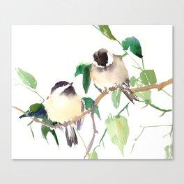 Chickadees, birds on tree, bird design neutral colors Canvas Print