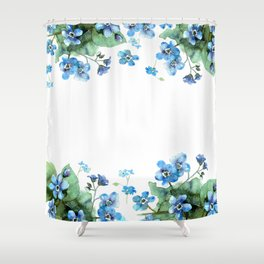 Watercolor forget me nots Shower Curtain