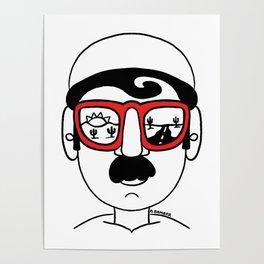 Desert Sunset Dream Views Red Sunglasses Mustache Man Poster