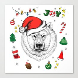 Merry Christmas Polar Bear Canvas Print