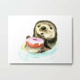 The otter who has a donut Metal Print