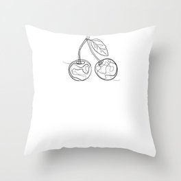Cherry - One Line Drawing Throw Pillow