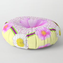 Modern Art Style Shasta Daisy Pink Roses  Yellow color Abstract art Floor Pillow