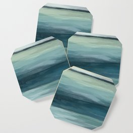 Seafoam Green Mint Navy Blue Abstract Ocean Art Painting Coaster
