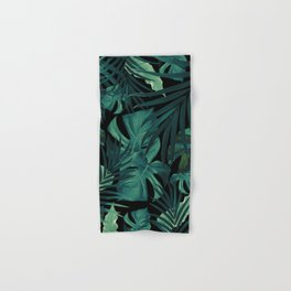 Tropical Jungle Night Leaves Pattern #1 #tropical #decor #art #society6 Hand & Bath Towel