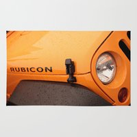 jeep Area & Throw Rugs featuring Jeep Rubicon by SShaw Photographic