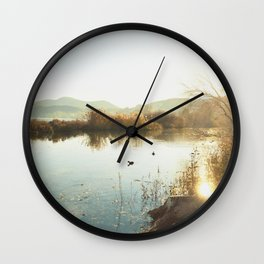 Autumn Lake Tranquility Wall Clock