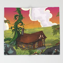 Jack and the Beanstalk Cottage in the evening Throw Blanket