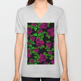 ROSES ROSES PINK AND GREEN Unisex V-Neck