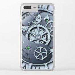 Steampunk clock silver Clear iPhone Case