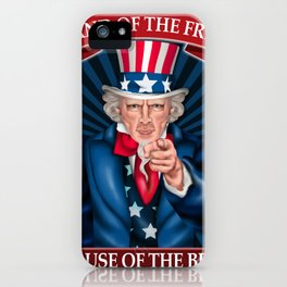 Land Of The Free Because of the Brave  American Patriotic  Veterans Design iPhone Case