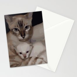 Luna the snow bengal cat with her kittens Stationery Cards