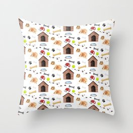 Rough Collie Dog Half Drop Repeat Pattern Throw Pillow