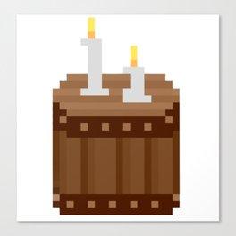Barrel and Candles Pixel Art Canvas Print