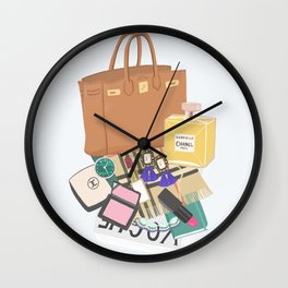 What's in my bag Illustration Wall Clock