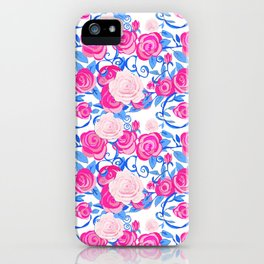 Pink Shabby Chic roses and royal blue vines on white iPhone Case